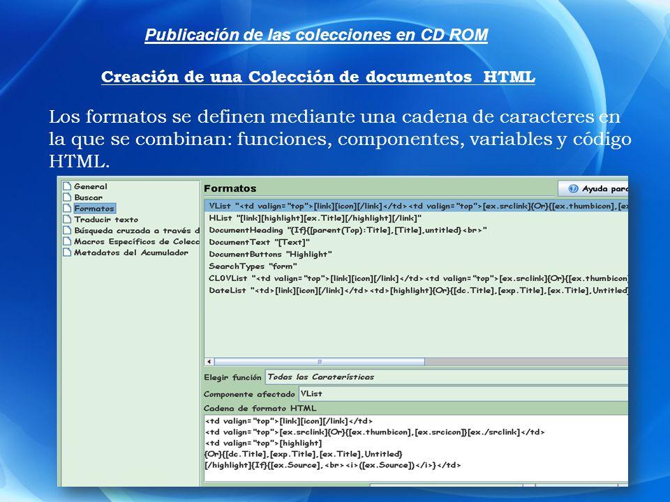 Los formatos se definen mediante una cadena de caracteres en la que se combinan: funciones, componentes, variables y código HTML. Publicación de las c
