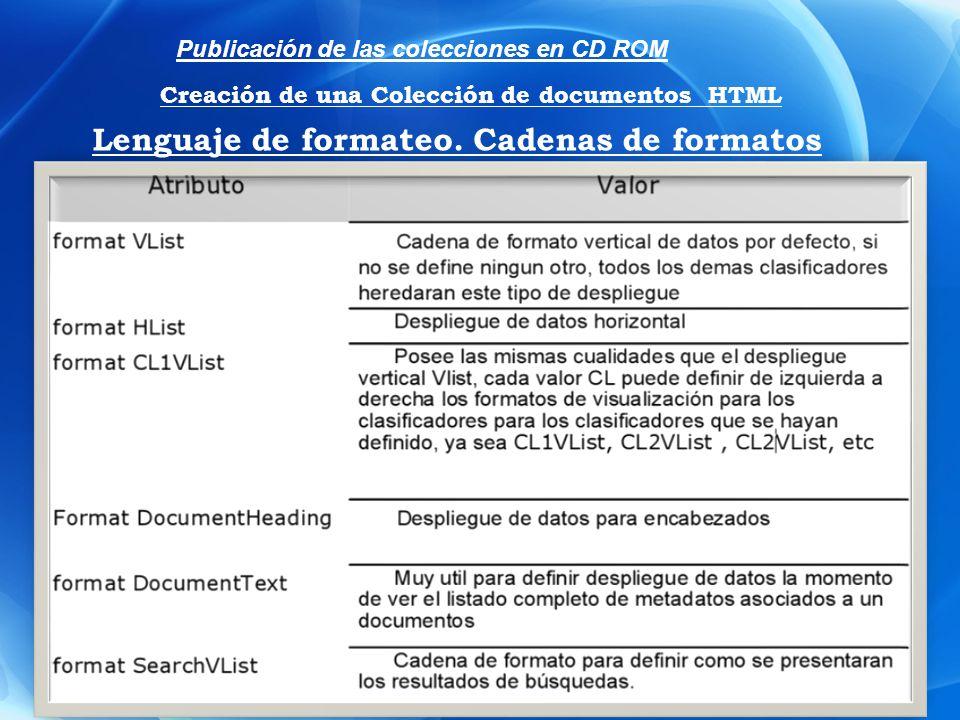 Lenguaje de formateo. Cadenas de formatos Publicación de las colecciones en CD ROM Creación de una Colección de documentos HTML