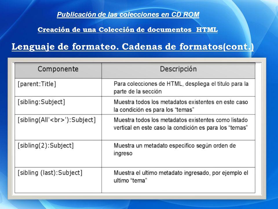 Publicación de las colecciones en CD ROM Creación de una Colección de documentos HTML Lenguaje de formateo. Cadenas de formatos(cont.)