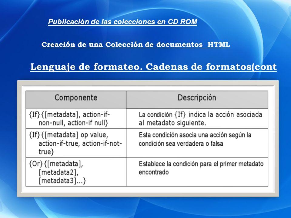 Publicación de las colecciones en CD ROM Creación de una Colección de documentos HTML Lenguaje de formateo. Cadenas de formatos(cont