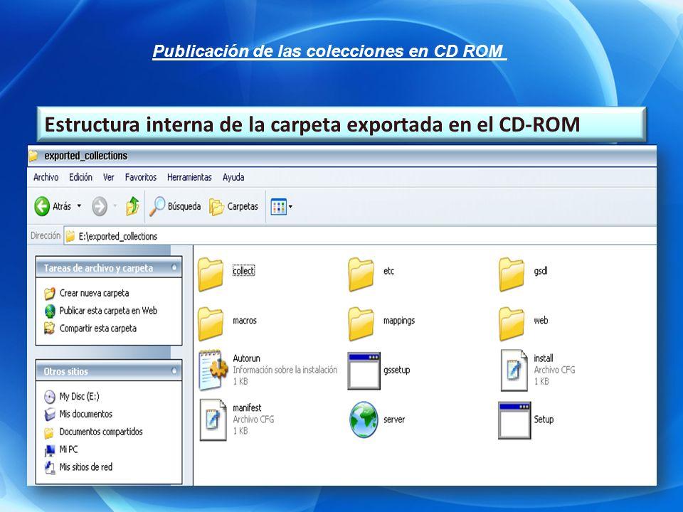 Estructura interna de la carpeta exportada en el CD-ROM Publicación de las colecciones en CD ROM