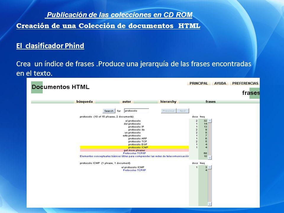 El clasificador Phind Crea un índice de frases.Produce una jerarquía de las frases encontradas en el texto. Publicación de las colecciones en CD ROM C