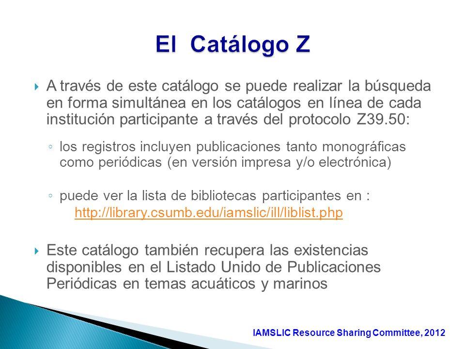 A través de este catálogo se puede realizar la búsqueda en forma simultánea en los catálogos en línea de cada institución participante a través del pr