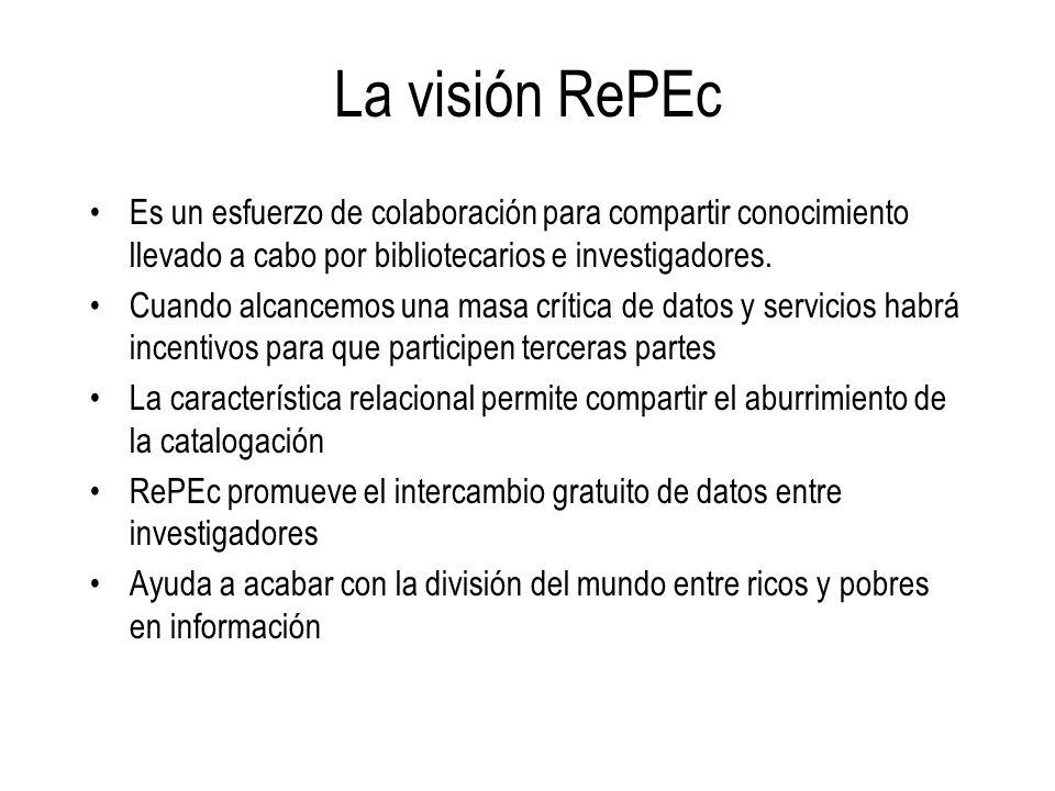 La visión RePEc Es un esfuerzo de colaboración para compartir conocimiento llevado a cabo por bibliotecarios e investigadores. Cuando alcancemos una m