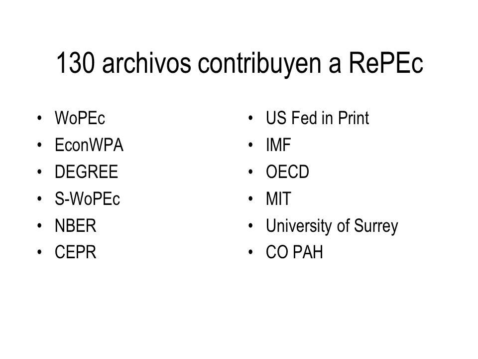 RePEc es usado por 10 servicios BibEc and WoPEc Decomate Z39.50 service NEP: New Economics Papers Inomics IDEAS RuPEc EDIRC HoPEc