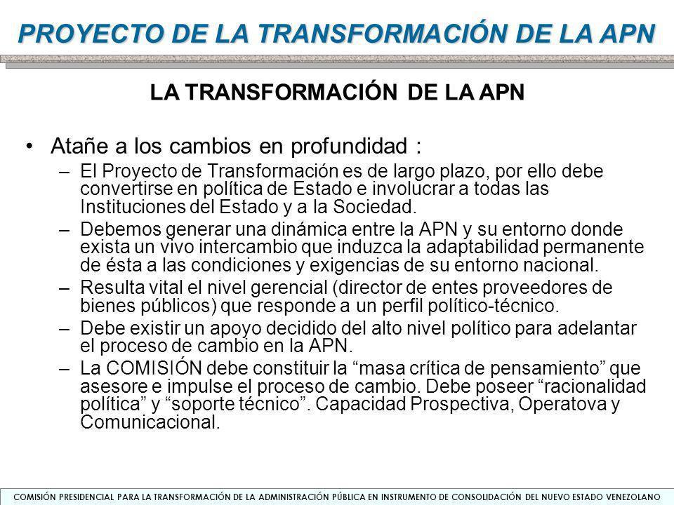 COMISIÓN PRESIDENCIAL PARA LA TRANSFORMACIÓN DE LA ADMINISTRACIÓN PÚBLICA EN INSTRUMENTO DE CONSOLIDACIÓN DEL NUEVO ESTADO VENEZOLANO PROYECTO DE LA TRANSFORMACIÓN DE LA APN CAPACIDADES DE LA COMISIÓN Capacidad de Prospección (lineamientos estratégicos) –Comprende la instalación de capacidades para el diseño, dirección y coordinación del procesamiento de información y de la generación de conocimiento que debe producirse en el proceso de Planificación de la Transformación de la APN.
