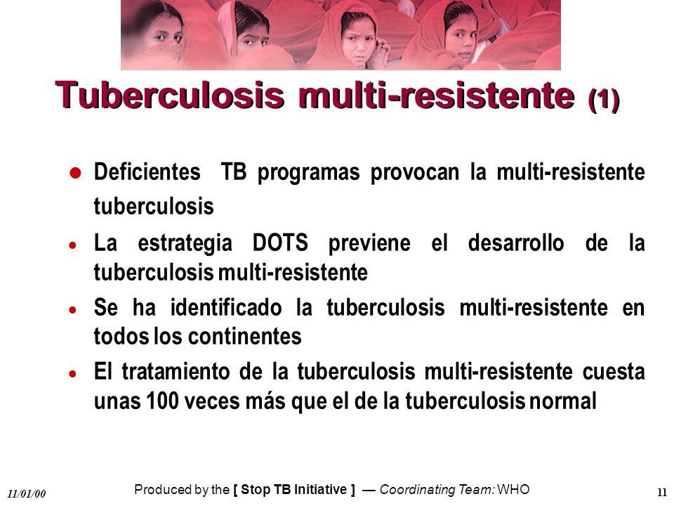 Produced by the [ Stop TB Initiative ] Coordinating Team: WHO 11/01/00 11 Tuberculosis multi-resistente (1) Deficientes TB programas provocan la multi