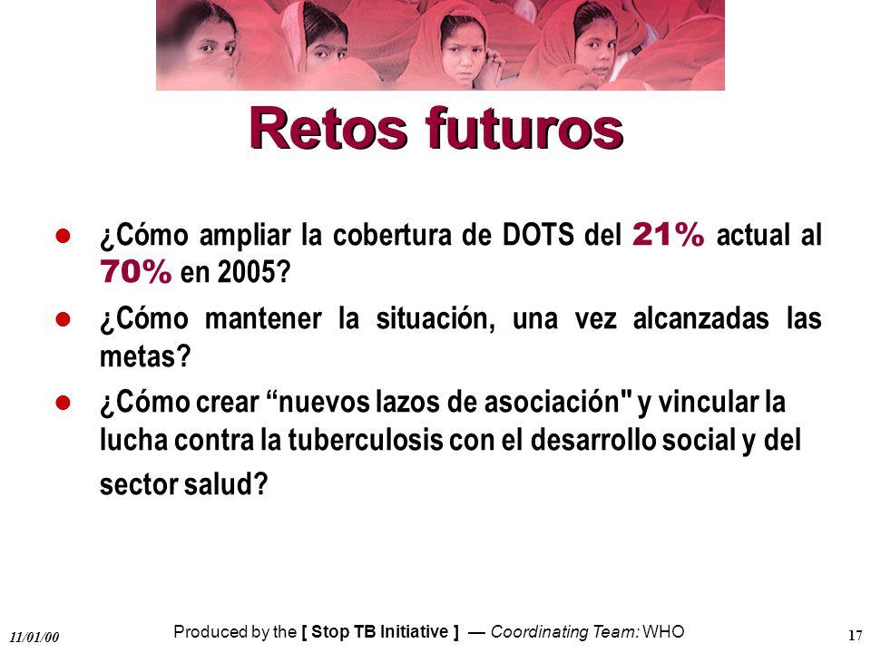 Produced by the [ Stop TB Initiative ] Coordinating Team: WHO 11/01/00 17 Retos futuros ¿Cómo ampliar la cobertura de DOTS del 21% actual al 70% en 20