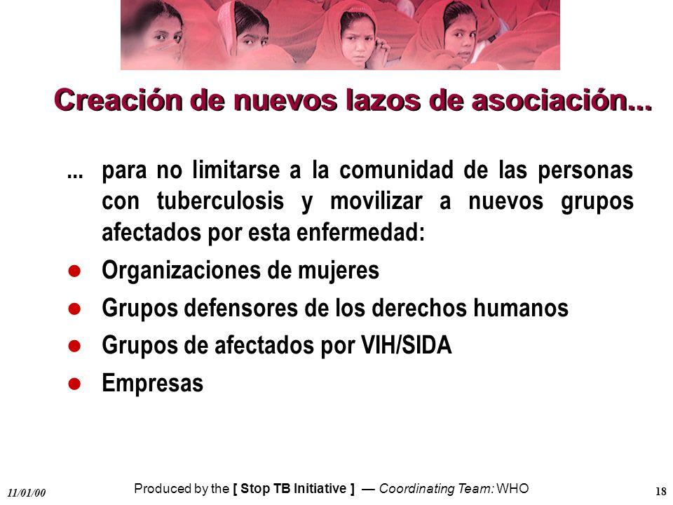 Produced by the [ Stop TB Initiative ] Coordinating Team: WHO 11/01/00 18 Creación de nuevos lazos de asociación...... para no limitarse a la comunida