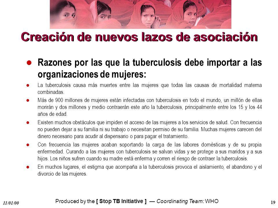 Produced by the [ Stop TB Initiative ] Coordinating Team: WHO 11/01/00 19 Creación de nuevos lazos de asociación l Razones por las que la tuberculosis