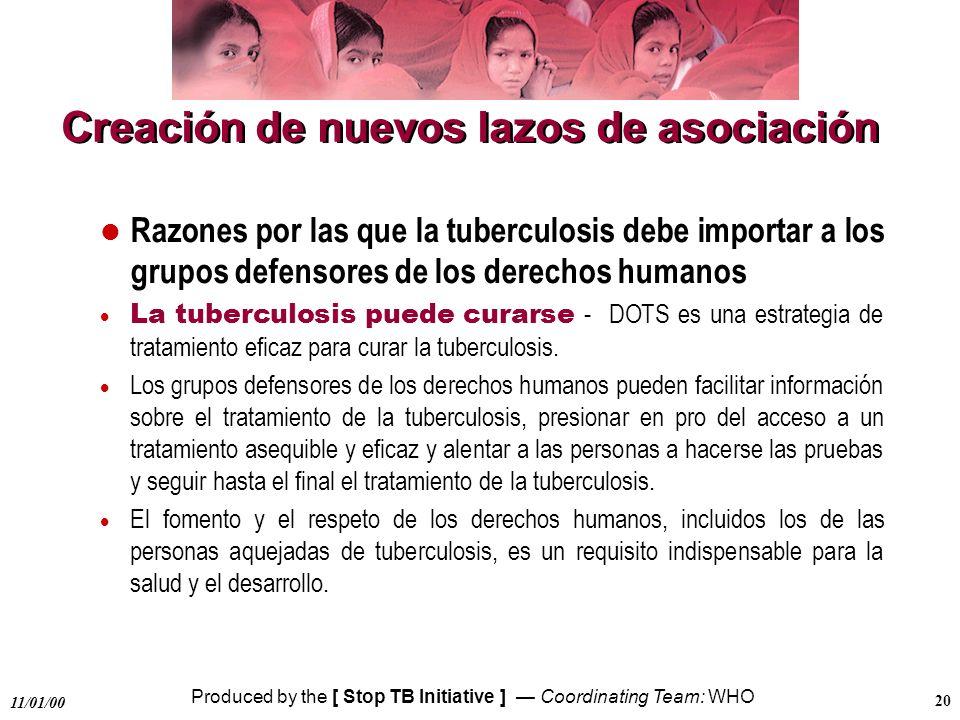 Produced by the [ Stop TB Initiative ] Coordinating Team: WHO 11/01/00 20 Creación de nuevos lazos de asociación Razones por las que la tuberculosis d