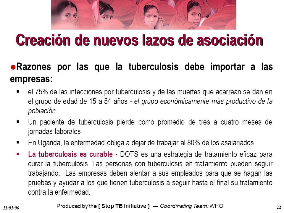 Produced by the [ Stop TB Initiative ] Coordinating Team: WHO 11/01/00 22 Creación de nuevos lazos de asociación l Razones por las que la tuberculosis