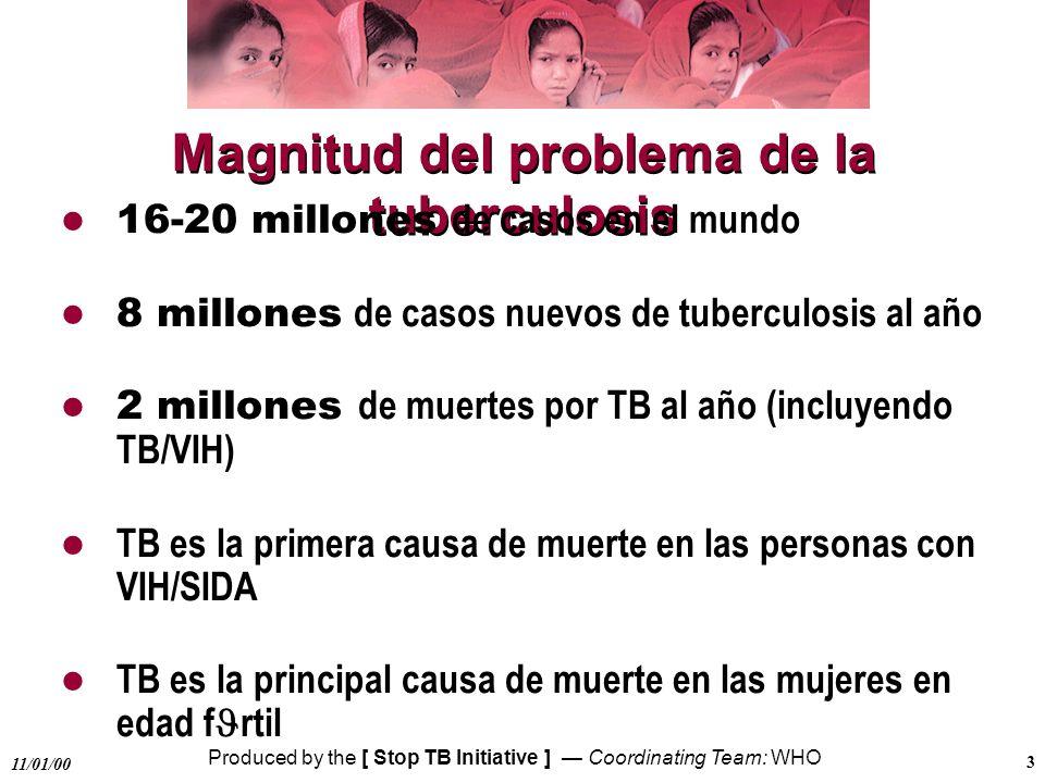 Produced by the [ Stop TB Initiative ] Coordinating Team: WHO 11/01/00 3 Magnitud del problema de la tuberculosis 16-20 millones de casos en el mundo