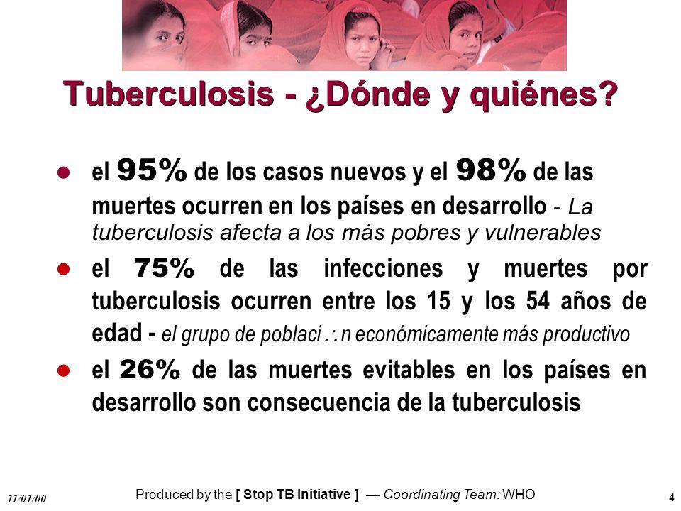 Produced by the [ Stop TB Initiative ] Coordinating Team: WHO 11/01/00 5 Avances de la estrategia DOTS en 1998 el 43% de la población mundial tuvo acceso a DOTS, el doble del porcentaje informado en 1995 119 países han adoptado la estrategia DOTS - el 21% de los pacientes de tuberculosis del mundo fueron tratados conforme a DOTS, el doble que en 1995 se notificaron 220 000 casos más de tuberculosis en el mundo que en 1997
