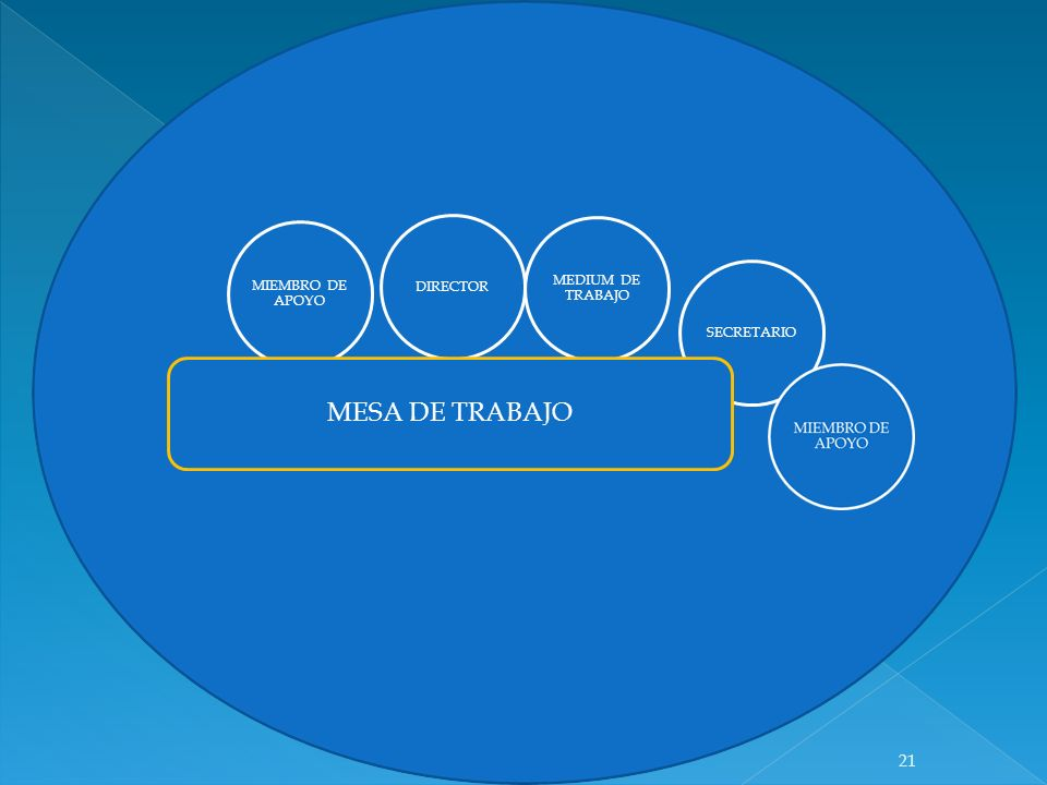 DIRECTOR MEDIUM DE TRABAJO MIEMBRO DE APOYO SECRETARIO MESA DE TRABAJO 21