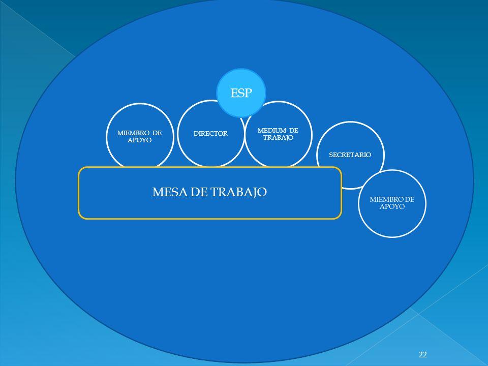 DIRECTOR MEDIUM DE TRABAJO MIEMBRO DE APOYO SECRETARIO MESA DE TRABAJO 22