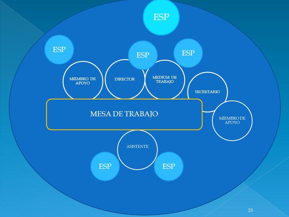 DIRECTOR MEDIUM DE TRABAJO MIEMBRO DE APOYO SECRETARIO MESA DE TRABAJO 25