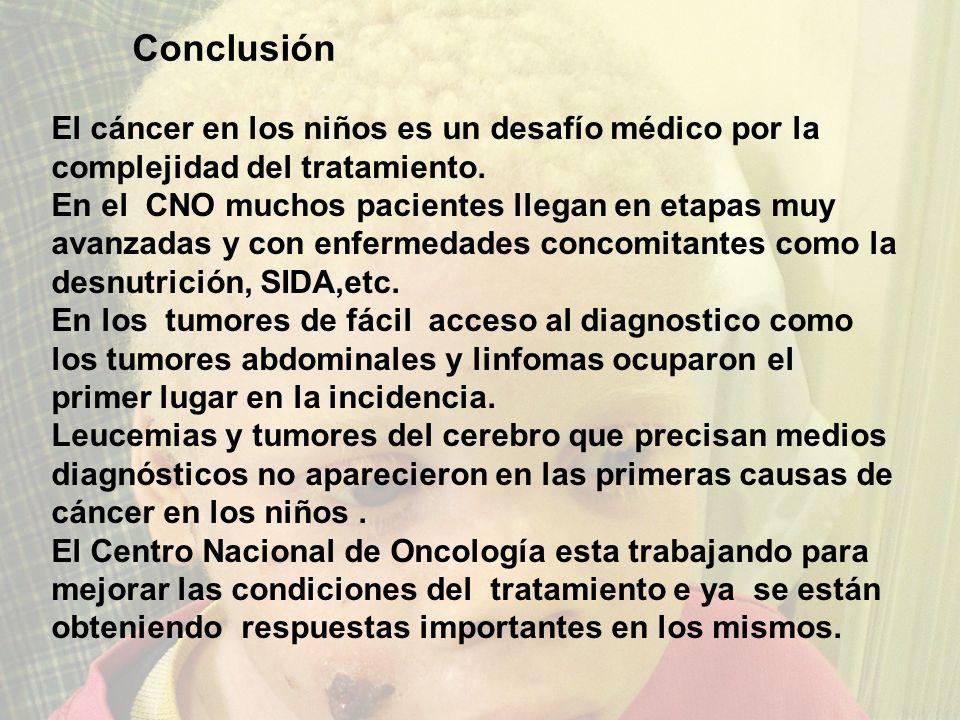 Conclusão El cáncer en los niños es un desafío médico por la complejidad del tratamiento. En el CNO muchos pacientes llegan en etapas muy avanzadas y