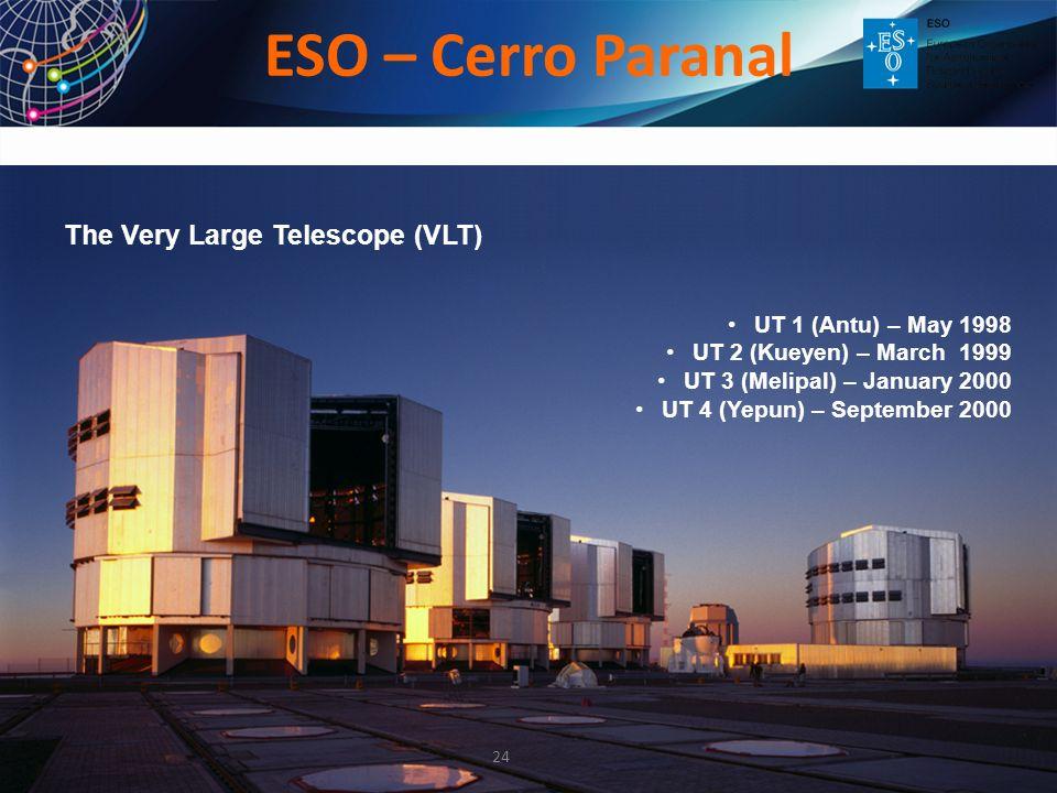 UT 1 (Antu) – May 1998 UT 2 (Kueyen) – March 1999 UT 3 (Melipal) – January 2000 UT 4 (Yepun) – September 2000 The Very Large Telescope (VLT) ESO – Cer