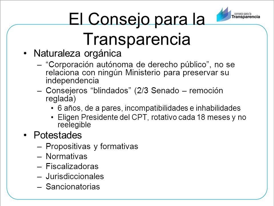 El Consejo para la Transparencia Naturaleza orgánica –Corporación autónoma de derecho público, no se relaciona con ningún Ministerio para preservar su