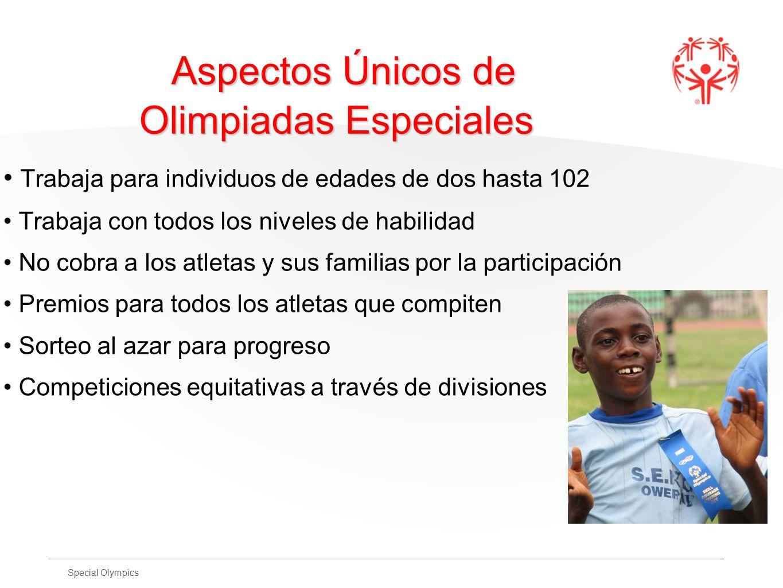 Special Olympics Aspectos Únicos de Olimpiadas Especiales Trabaja para individuos de edades de dos hasta 102 Trabaja con todos los niveles de habilida