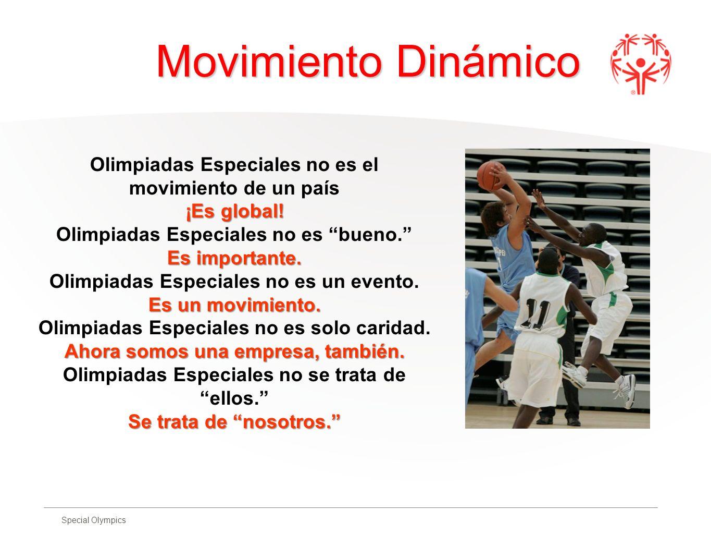 Special Olympics Movimiento Dinámico Movimiento Dinámico Olimpiadas Especiales no es el movimiento de un país ¡Es global! Olimpiadas Especiales no es