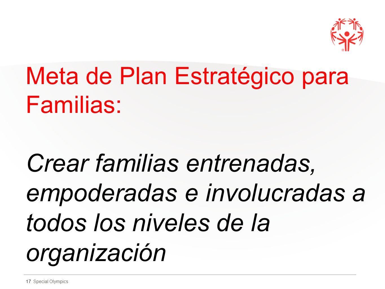 Special Olympics Meta de Plan Estratégico para Familias: Crear familias entrenadas, empoderadas e involucradas a todos los niveles de la organización