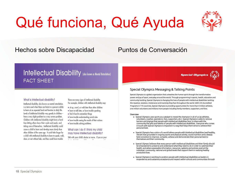 Special Olympics Qué funciona, Qué Ayuda Hechos sobre DiscapacidadPuntos de Conversación 18
