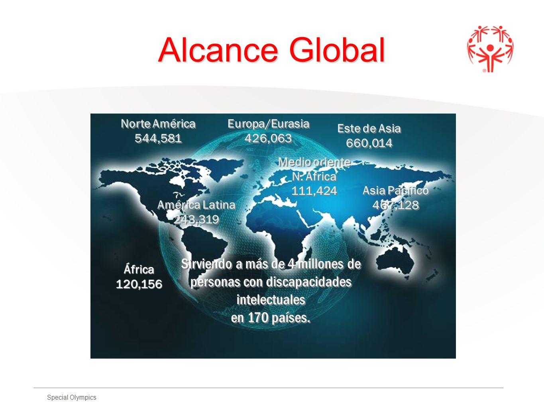 Special Olympics Alcance Global Norte América 544,581 América Latina 243,319 Asia Pacífico 467,128 Medio oriente N. África 111,424 Europa/Eurasia 426,