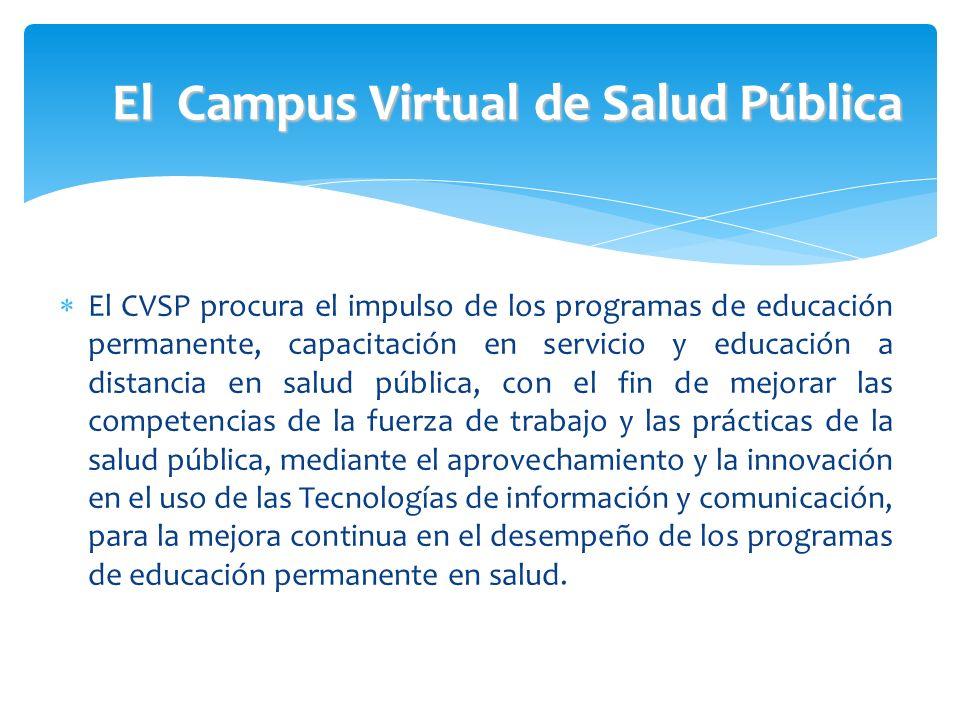 El Campus Virtual de Salud Pública El CVSP procura el impulso de los programas de educación permanente, capacitación en servicio y educación a distanc