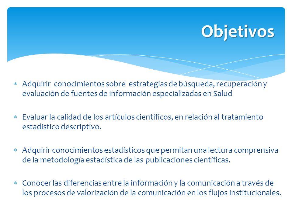 Objetivos Adquirir conocimientos sobre estrategias de búsqueda, recuperación y evaluación de fuentes de información especializadas en Salud Evaluar la