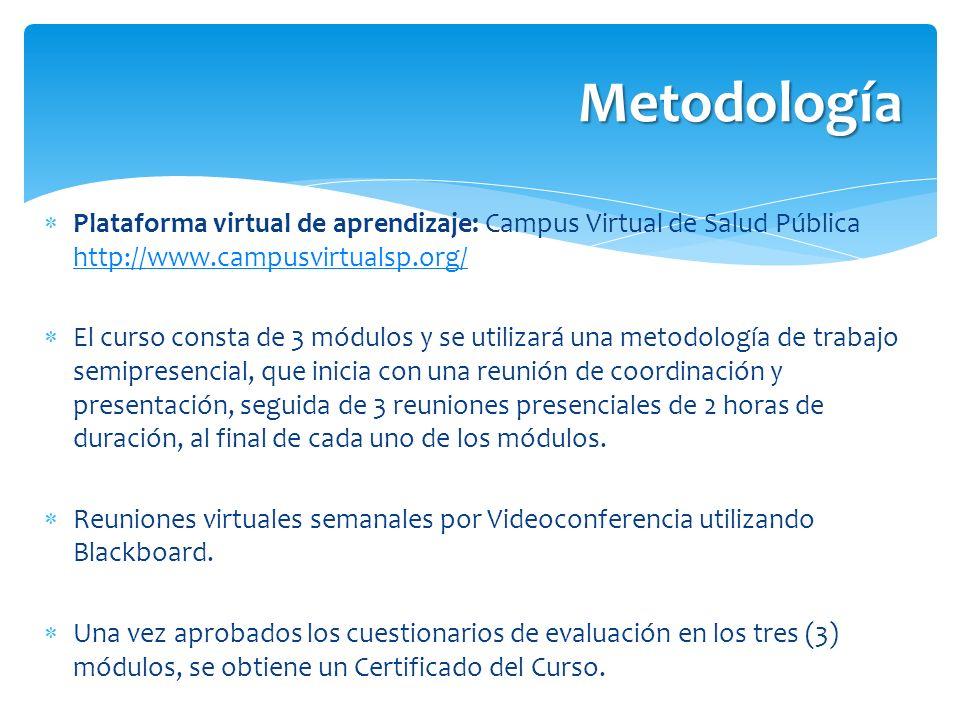Metodología Plataforma virtual de aprendizaje: Campus Virtual de Salud Pública http://www.campusvirtualsp.org/ http://www.campusvirtualsp.org/ El curs