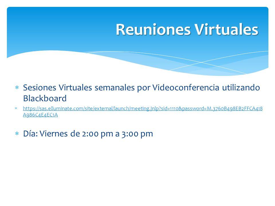 Sesiones Virtuales semanales por Videoconferencia utilizando Blackboard https://sas.elluminate.com/site/external/launch/meeting.jnlp?sid=1110&password