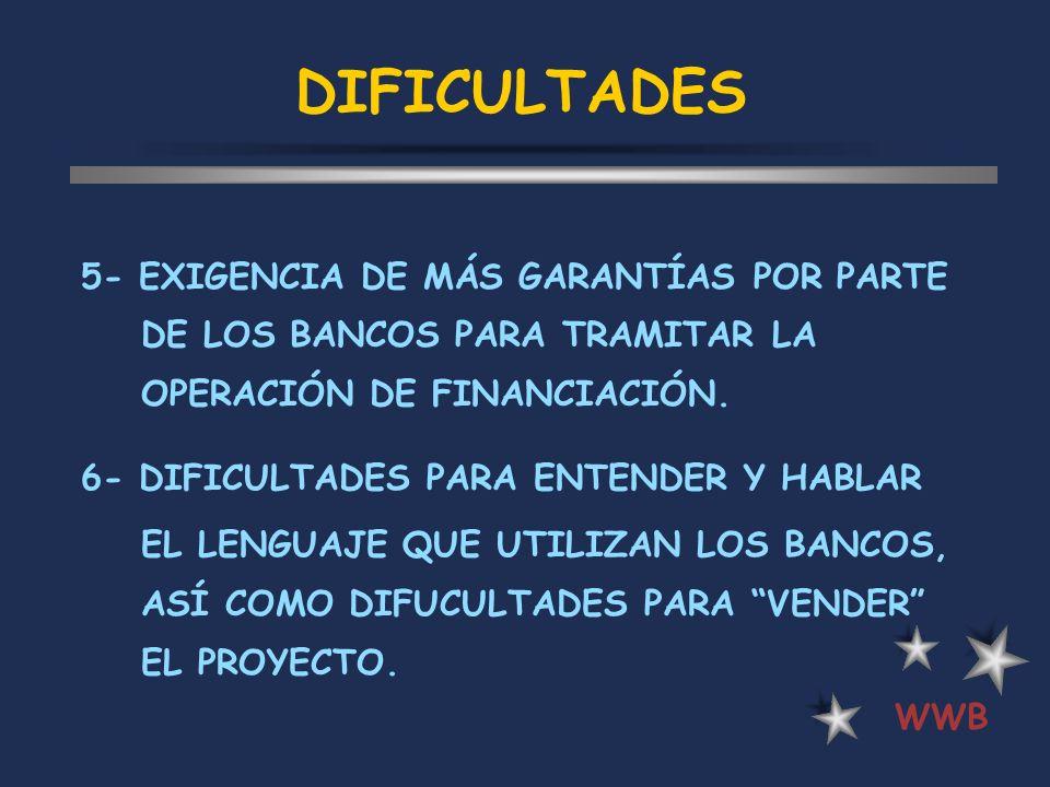 DIFICULTADES 5- EXIGENCIA DE MÁS GARANTÍAS POR PARTE DE LOS BANCOS PARA TRAMITAR LA OPERACIÓN DE FINANCIACIÓN. 6- DIFICULTADES PARA ENTENDER Y HABLAR
