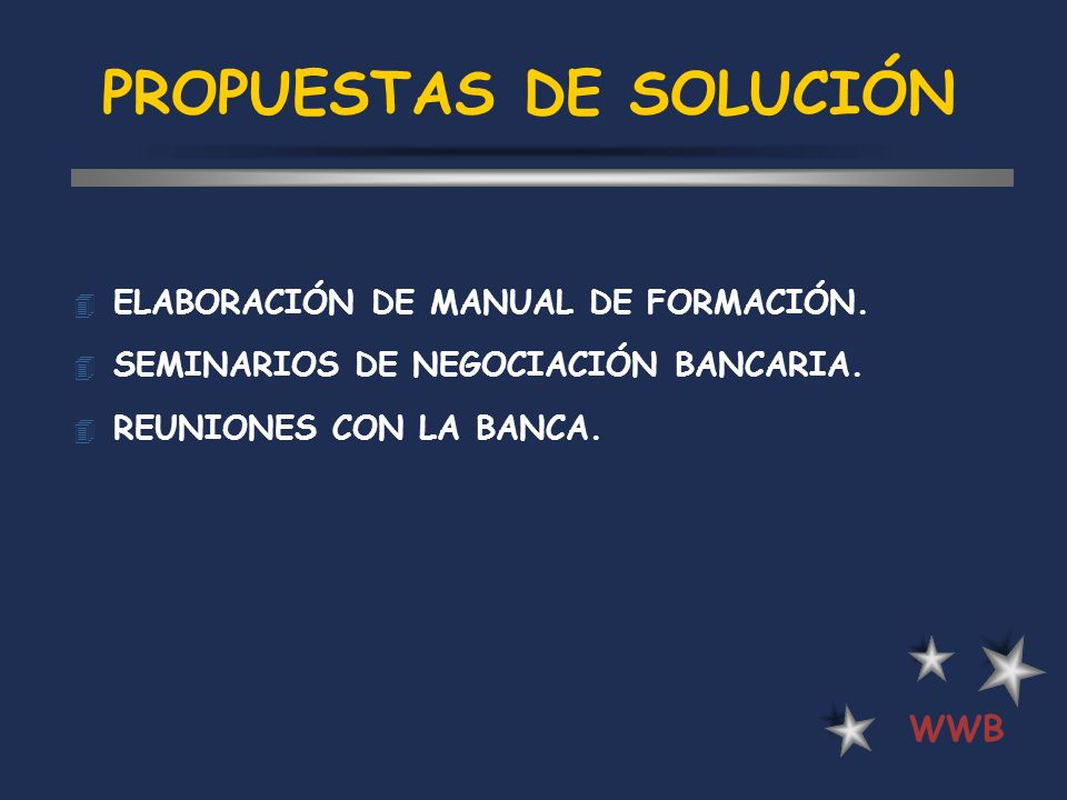 PROPUESTAS DE SOLUCIÓN 4 ELABORACIÓN DE MANUAL DE FORMACIÓN. 4 SEMINARIOS DE NEGOCIACIÓN BANCARIA. 4 REUNIONES CON LA BANCA. WWB