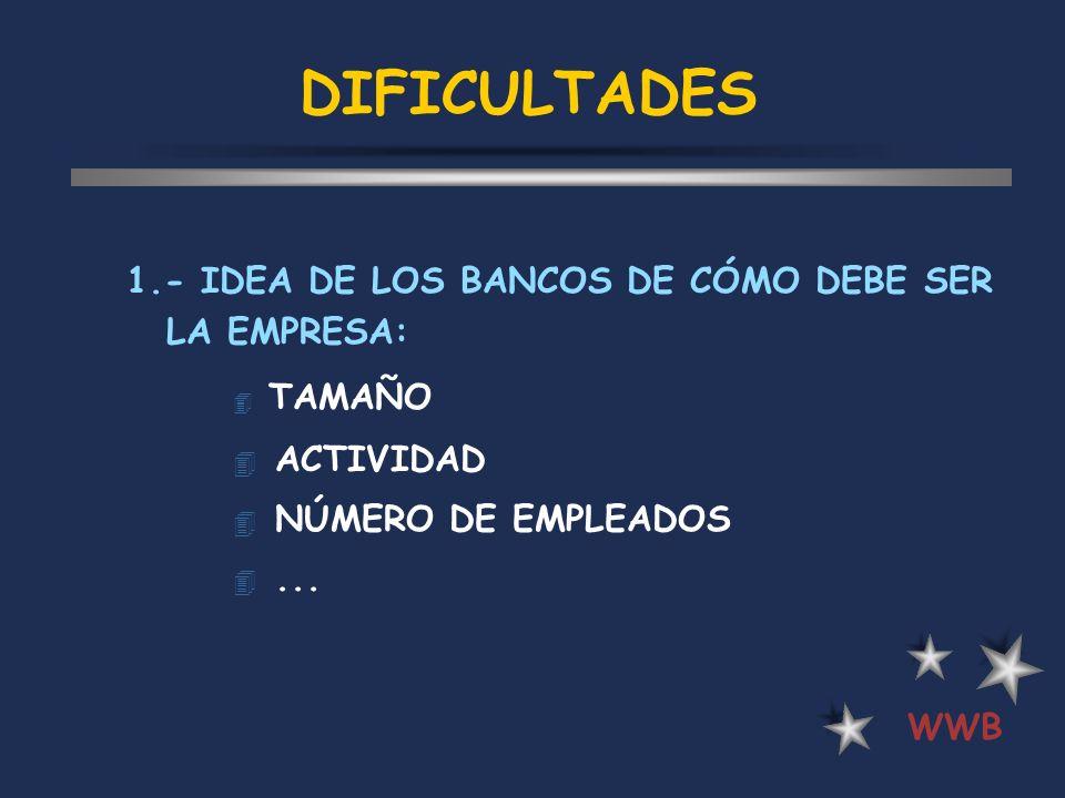DIFICULTADES 1.- IDEA DE LOS BANCOS DE CÓMO DEBE SER LA EMPRESA: 4 TAMAÑO 4 ACTIVIDAD 4 NÚMERO DE EMPLEADOS 4... WWB