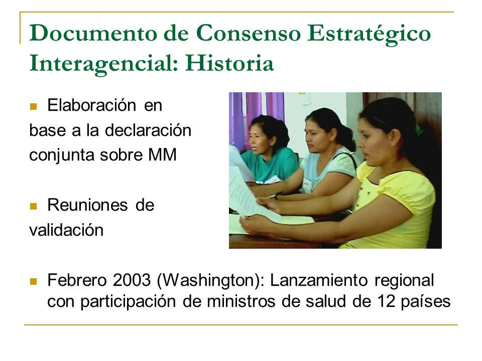 Documento de Consenso Estratégico Interagencial: Historia Elaboración en base a la declaración conjunta sobre MM Reuniones de validación Febrero 2003