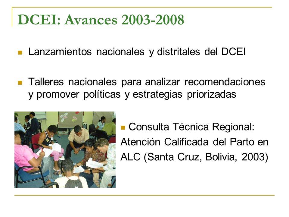 DCEI: Avances 2003-2008 Lanzamientos nacionales y distritales del DCEI Talleres nacionales para analizar recomendaciones y promover políticas y estrat