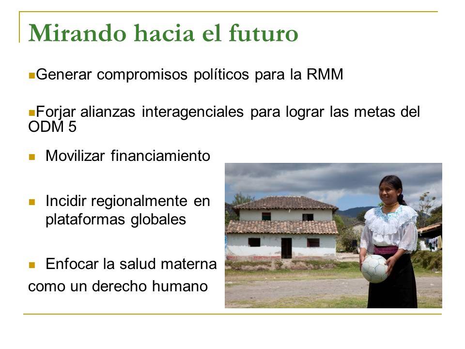 Mirando hacia el futuro Movilizar financiamiento Incidir regionalmente en plataformas globales Enfocar la salud materna como un derecho humano Generar