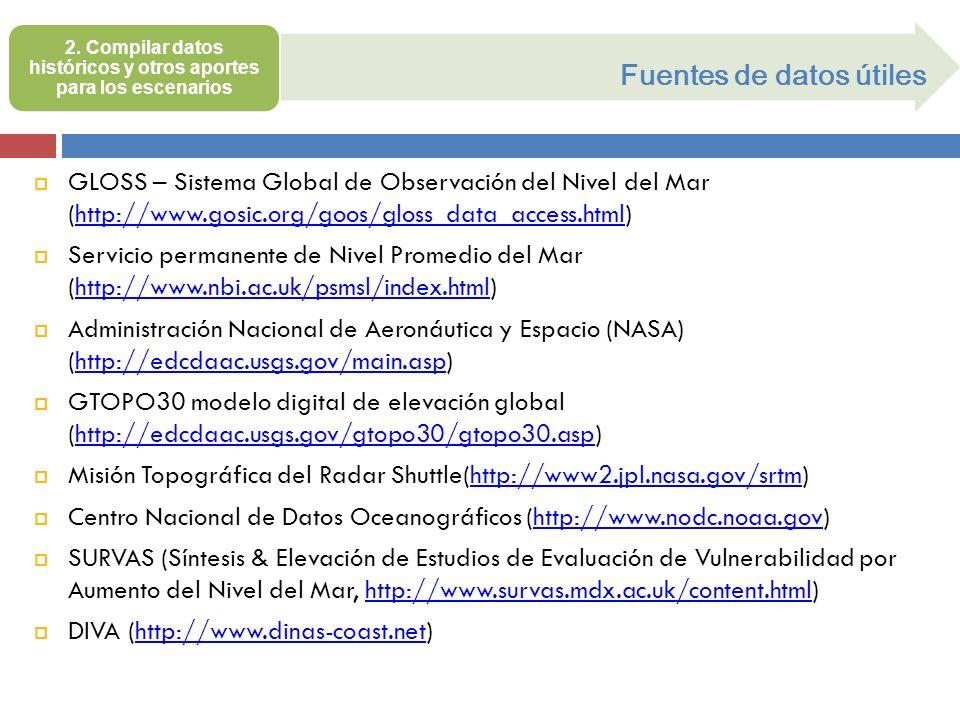 Fuentes de datos útiles GLOSS – Sistema Global de Observación del Nivel del Mar (http://www.gosic.org/goos/gloss_data_access.html)http://www.gosic.org
