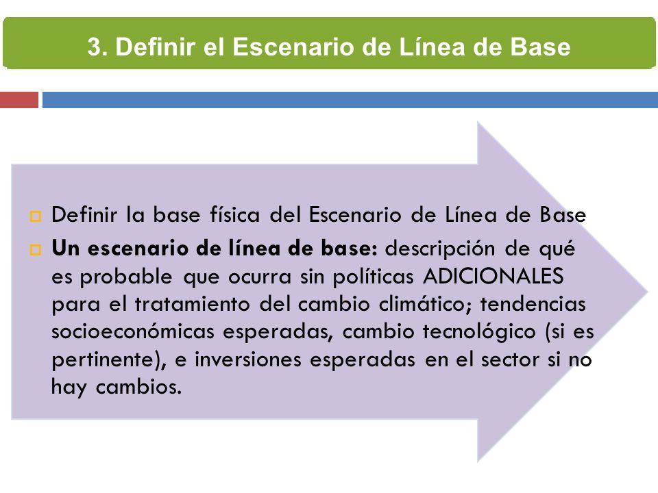 Definir la base física del Escenario de Línea de Base Un escenario de línea de base: descripción de qué es probable que ocurra sin políticas ADICIONAL