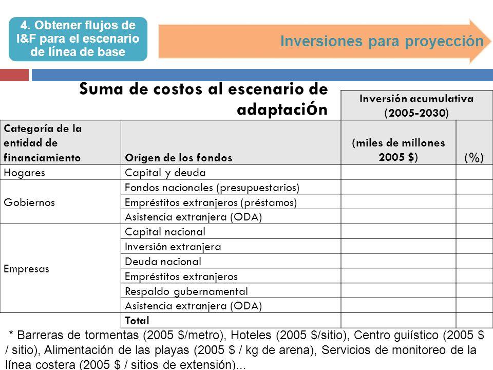 4. Obtener flujos de I&F para el escenario de línea de base Inversiones para proyección Inversión acumulativa (2005-2030) Categoría de la entidad de f