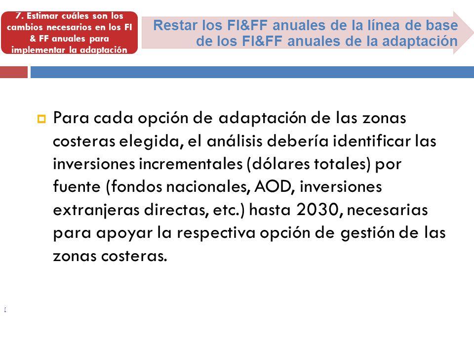 [ Restar los FI&FF anuales de la línea de base de los FI&FF anuales de la adaptación 7. Estimar cuáles son los cambios necesarios en los FI & FF anual