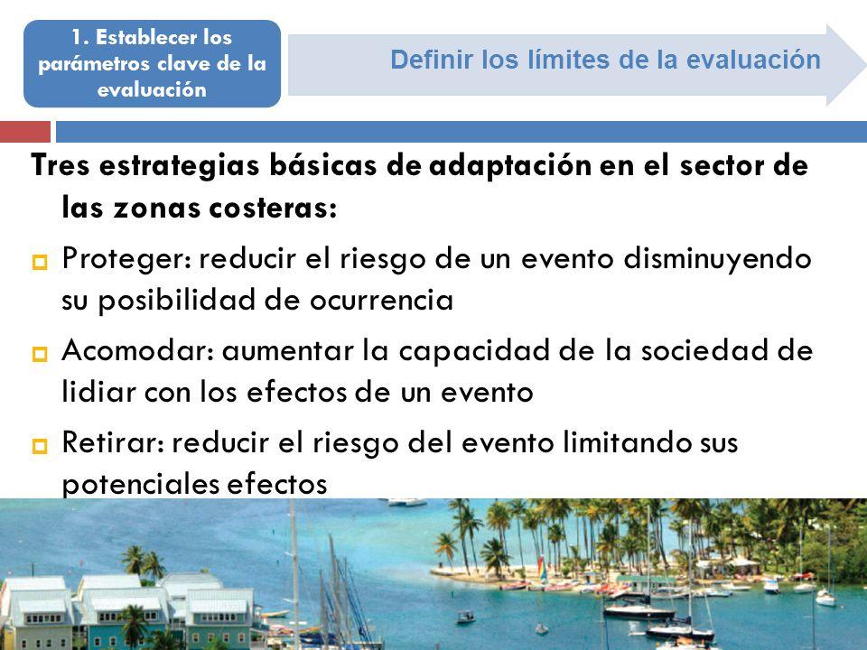 Definir los límites de la evaluación 1. Establecer los parámetros clave de la evaluación Tres estrategias básicas de adaptación en el sector de las zo