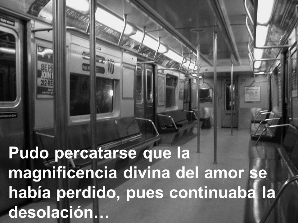 Pudo percatarse que la magnificencia divina del amor se había perdido, pues continuaba la desolación…