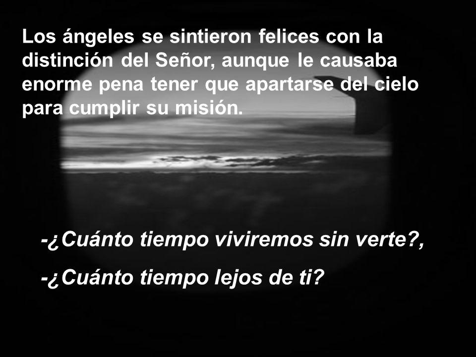 Los ángeles se sintieron felices con la distinción del Señor, aunque le causaba enorme pena tener que apartarse del cielo para cumplir su misión.