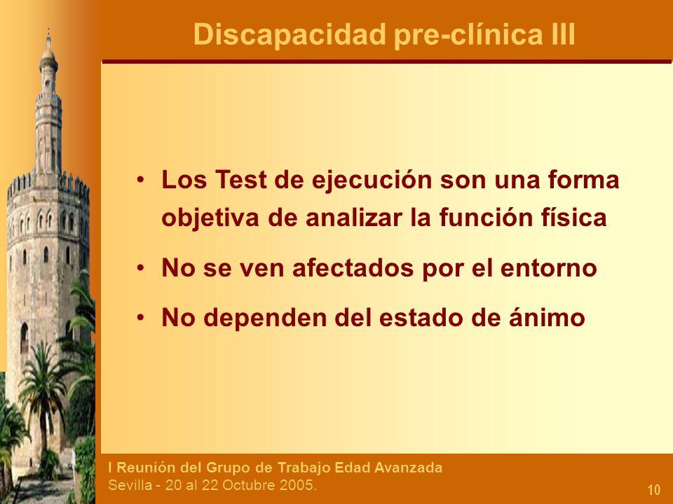 I Reunión del Grupo de Trabajo Edad Avanzada Sevilla - 20 al 22 Octubre 2005. 10 Los Test de ejecución son una forma objetiva de analizar la función f