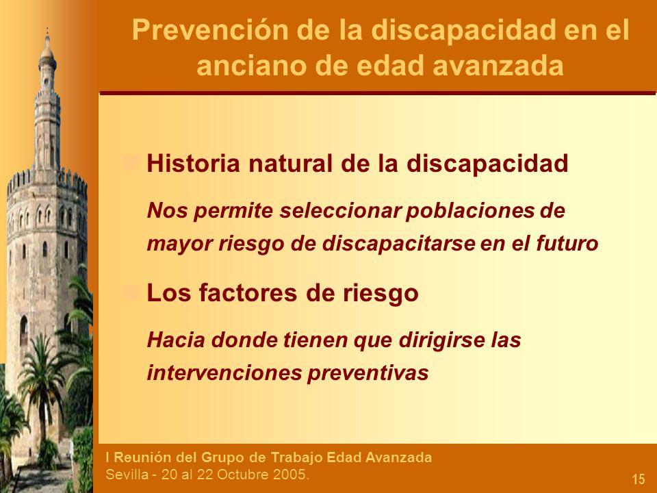 I Reunión del Grupo de Trabajo Edad Avanzada Sevilla - 20 al 22 Octubre 2005. 15 Historia natural de la discapacidad Nos permite seleccionar poblacion