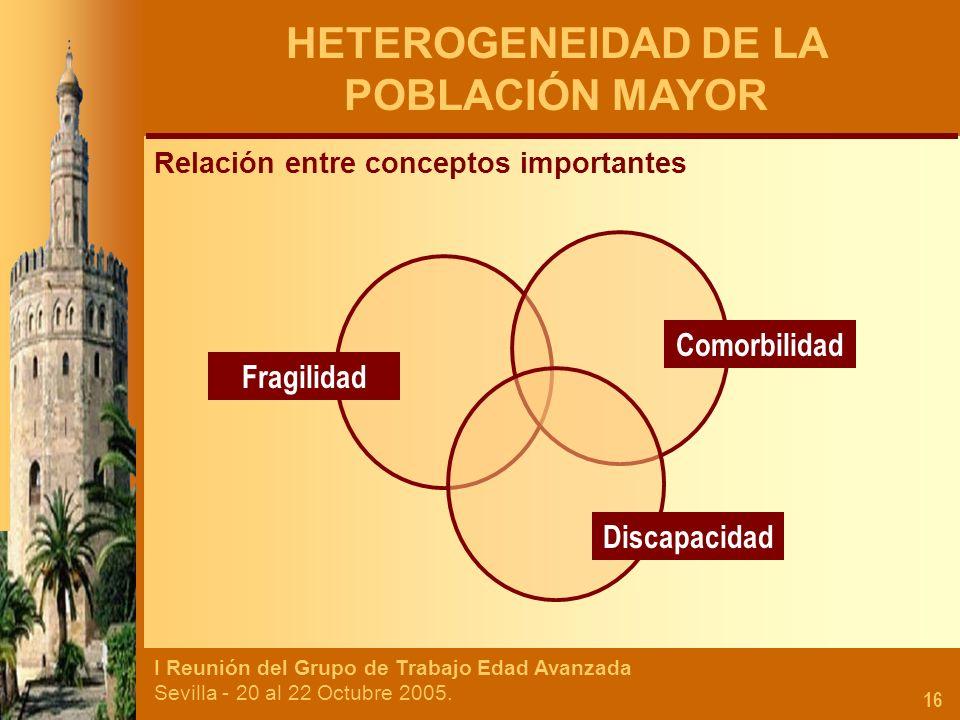 I Reunión del Grupo de Trabajo Edad Avanzada Sevilla - 20 al 22 Octubre 2005. 16 HETEROGENEIDAD DE LA POBLACIÓN MAYOR Relación entre conceptos importa