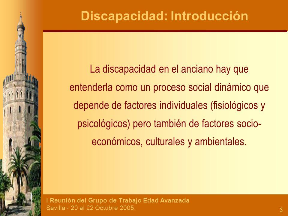 I Reunión del Grupo de Trabajo Edad Avanzada Sevilla - 20 al 22 Octubre 2005. 3 Discapacidad: Introducción La discapacidad en el anciano hay que enten